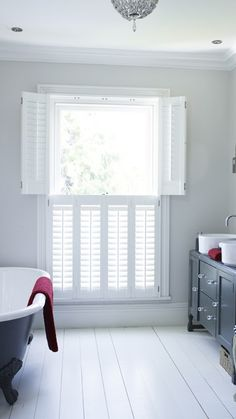 Lifestyle is the leading supplier/fitter of plantation and bay window shutters at competitive prices in Essex, London & Kent. We install all aspects of internal window shutters as well as bespoke window blinds. Get a FREE quote on ☎ 01245 Custom Interior Doors, Door Design Interior, Interior Design Elements, Interior Barn Doors, Exterior Doors, Interior Paint, Cafe Shutters, Interior Window Shutters, Open Shutters