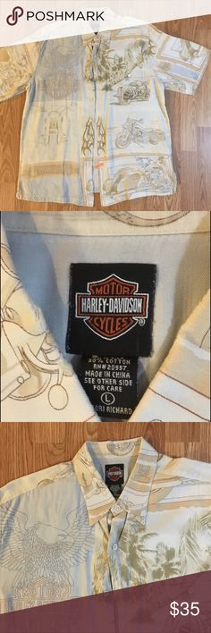 Authentic Harley Shirt L Awesome Authentic Harley Davidson Shirt. Size L. EUC Harley's all over this shirt. Classic style and Class. Professionally Laundered Harley-Davidson Shirts Casual Button Down Shirts