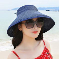 Women Foldable Bowknot Empty Top Wide Brim Beach Sun Straw Hat Outdoor Summer Travel Visor Cap Online - NewChic Mobile