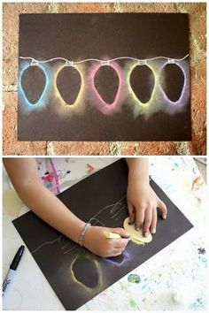 Bulbs Christmas light chalk stencil art - a quick holiday art project for kids - Here's a quick Christmas art project for kids: Christmas Light Chalk Stencil Art! The kids always love how these turn out and can't wait to make them again and again! Preschool Christmas, Christmas Activities, Christmas Projects, Handmade Christmas, Christmas Cookies, Christmas Decorations Diy For Teens, Diy Christmas Gifts For Friends, Christmas Ideas, Christmas Crafts For Kids To Make