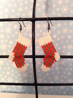Christmas stocking earrings by jolly26 on Etsy