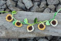 Sunflower Crochet Ankle Bracelet Crochet by smileywileyknits, $5.00