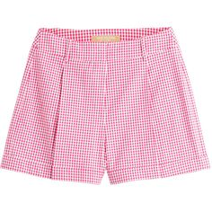 Michael Kors Gingham Shorts (237 AUD) ❤ liked on Polyvore featuring shorts, pink, american shorts, michael kors shorts, pocket shorts, pink shorts and flat front shorts
