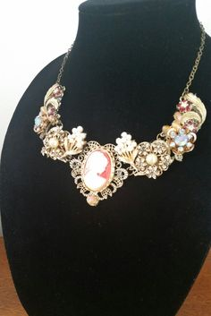 Cameo necklace, statement necklace, bib necklace, vintage necklace, OOAK  jewlery, OOAK necklace, bridal necklace, mother of bride necklace by Passion4Retro on Etsy