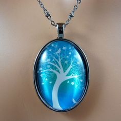 Hearts and Flowers Tree Necklace / White Silouette on Turquoise Blue