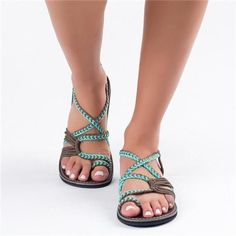 4610dea69 2018 Summer Handmade Breathable Bandage Beach Flat Sandals size any colors