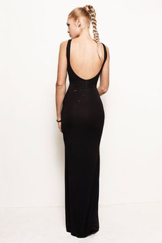 ABBY  BLACK  Distressed Backless Maxi Dress by FROCKLosAngeles, $127.00