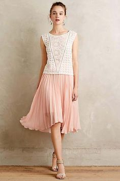 Scalloped Pleats Midi Skirt by Meadow Rue #anthrofave #anthropologie