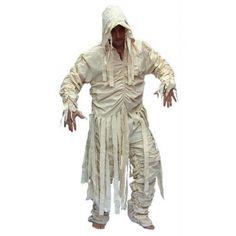 Mummiekostuum voor heren bestaande uit een witte broek en shirt met capuchon en…
