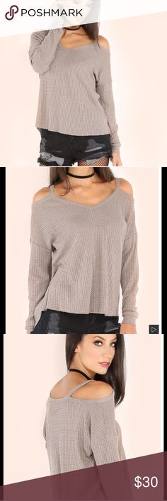 Heather Khaki Waffle Cold Shoulder Top *worn once *75% polyester 25% cotton *strechy fabric *bought from giggly_shop  make me an offer! or click bundle and i can send you at a personal offer!  any questions? be sure to comment below! Tops