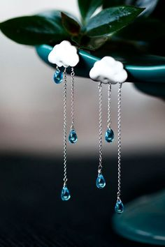 SUMMER RAIN earrings - long chain-blue crystals drop of rain-cloud earrings-rainy-handmade gift