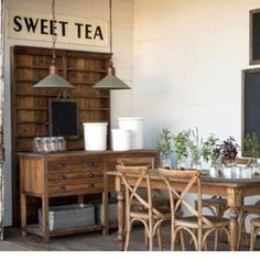 The perfect farmhouse kitchen! Get your HUGE sweet tea sign now! We've got a couple left in the shop!