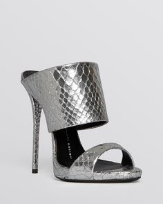 Giuseppe Zanotti Slide Mule Evening Platform Sandals - Coline Metallic High Heel