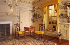 Miniature Colonial room with dentil molding at ceiling and charming wall murals.