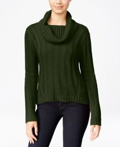 Hooked Up by Iot Juniors' Rib-Knit Cowl-Neck Sweater - Green S