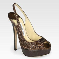 Cheap Jimmy Choo Vita Glitter Sling Sandal In Bronze