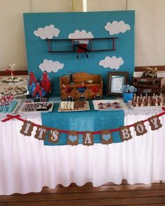 Vintage plane baby shower  party! See more party planning ideas at CatchMyParty.com!