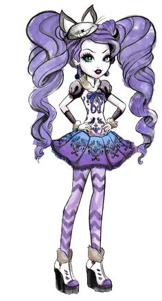 Kitty Cheshire official art from Ever After High Ever After High, Arte Monster High, Monster High Dolls, Chibi Kawaii, Raven Queen, Adventures In Wonderland, Animes Wallpapers, Cosplay, Custom Dolls