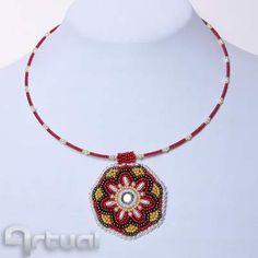 Mandala bead embroidery pendant