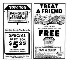 Popeyes Chicken - December 1978 Popeyes Chicken, Fried Chicken, Vintage Advertisements, Vintage Ads, Popeyes Louisiana Kitchen, Bar B Q, Old Ads, Group Meals