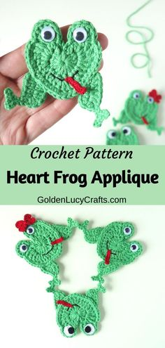 Crochet frog applique, motif, free crochet pattern, cute heart-shaped frog, perfect for any kid's embellishment, handmade cards or scrapbooking Crochet Frog, Crochet Puff Flower, Cute Crochet, Crochet Motif, Crochet Designs, Crochet Hearts, Easy Crochet, Crochet Flowers, Frog Applique Pattern