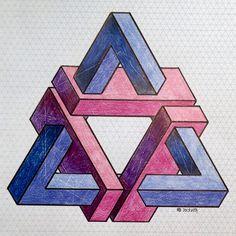 20151107b (regolo54) Tags: watercolor pattern handmade geometry aquarelle symmetry isometric impossible