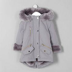 Mini girls lilac faux fur trim parka coat