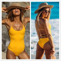 Strappy High Cut One Piece Swimwear Ribbed Plunge Neckline Plaited Swimsuits Set #Unbranded #Monokini