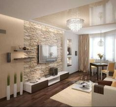 Natursteinwand im Wohnzimmer und warme beige Nuancen Natural stone wall in the living room and warm beige nuances Nadire Atas on Simple and Elegant Living Areas 30 Beautiful Photo of Beige Living Room . Beige Living Room 23 Best Beige Living Room Design I Beige Living Rooms, Living Room Tv, Interior Design Living Room, Living Room Designs, Stone Wall Living Room, Apartment Living, Design Interiors, Apartment Plants, Interior Livingroom