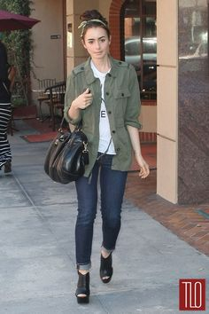 Lily Collins in Beverly Hills, California.