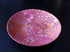 """""""Coral Roses"""", polymer clay dish by Luisa Brusco Denurchis, Venice (November 2013)"""