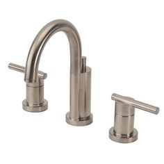 Riviera 8 in. Widespread 2-Handle Mid-Arc Bathroom Faucet with Drain Assembly Brushed Nickel