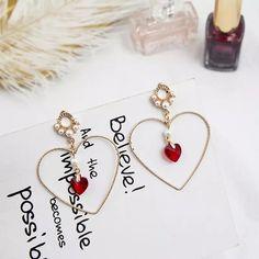 Heart Earrings, Tassel Earrings, Red Earrings, Dance Accessories, Pearl Pendant, Dog Tag Necklace, Tassels, Pearls, Jewelry