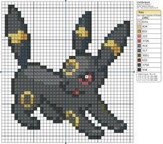 sandylandya Pokemon Patterns U-Z cross stitch Pokemon Umbreon, Pyssla Pokemon, Pokemon Perler Beads, Beaded Cross Stitch, Cross Stitch Charts, Cross Stitch Designs, Cross Stitch Embroidery, Cross Stitch Patterns, Disney Kawaii