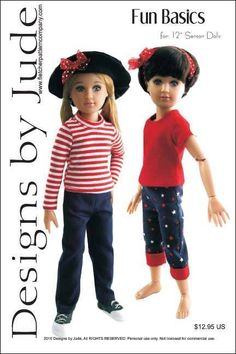 """Slumber Party Doll Clothes Sewing Pattern 12/"""" Senson Dolls Designs by Jude"""