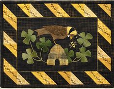 March Bird and Shamrocks Wool Table Mat -  Wool Applique Patterns - Spring Decor - March #1323 by SimplyUniqueBySheila on Etsy
