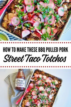 How to make these bbq pulled pork street taco nachos. Totchos! Healthy Taco Recipes, Healthy Snacks To Make, Healthy Tacos, Snack Recipes, Taco Stand, Street Tacos, One Pan Meals, Appetizers For Party, Nachos