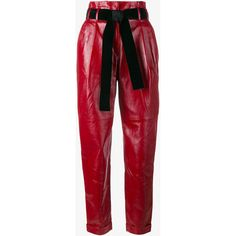 Philosophy Tapered Leather Trousers ($1,495) ❤ liked on Polyvore featuring pants, capris, leather, high waisted tapered pants, high waist pants, red pants, high-waist trousers and tapered pants