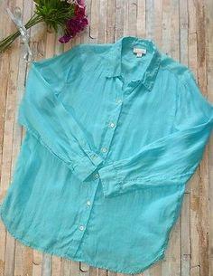 J Jill 100% LOVE LINEN Shirt Button Down Long Top Tunic Oversized Blue Artist Sm #jjill #linen