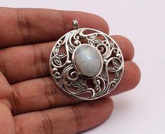 Natural Handmade Rainbow Moonstone Gemstone 925 Sterling Silver Pendant Jewelry #Handmade #Pendant