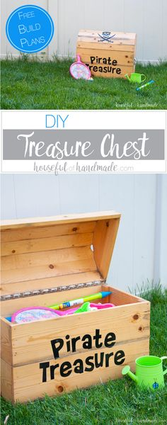 Build the perfect outdoor toy storage. This DIY treasure chest toy box is big enough to store lots of toys and looks awesome. Free build plans from Housefulofhandmade.com   Silhouette Creator's Challenge   Woodworking Plans   Pirate Treasure Chest   How to Build a Treasure Chest   Outdoor Storage Ideas   Toy Storage Ideas