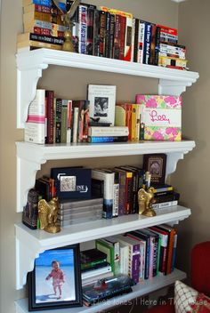 Katie's built-in floating bookshelves made by her father-in-law