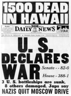 +DECEMBER 7th, 1941 --- Probably a Dec 8th paper.