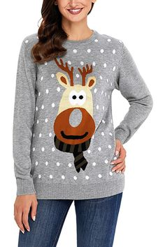 77d08ef46a Pavacat Christmas Round Neck Elk Sweater. Reindeer SweaterUgly Christmas Sweater  WomenUgly SweaterSweater CardiganChristmas SweatersKnit ...
