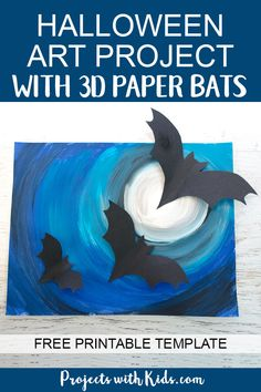 Halloween Art Project with Paper Bats A full moon, spooky Halloween sky and flying bats all come together to make this awesomely spooky Halloween art project that kids will love to create! Halloween Art Projects, Halloween Arts And Crafts, Halloween Painting, Halloween Books, Halloween Pictures, Halloween Activities, Spooky Halloween, Projects For Kids, Halloween Ideas