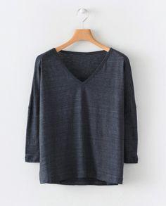 Linen v-neck top Running Stitch, V Neck Tops, Hemline, Denim, Sleeves, Sweaters, Cotton, Beautiful, Black