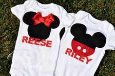 Twins Baby Onesie Mickey Mouse and Minnie Mouse Set, via Etsy.