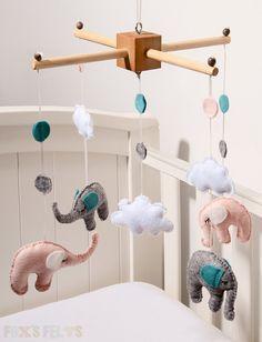 Elephant and Cloud Felt Mobile, Nursery Mobile, Baby Crib Mobile, Cot Mobile.