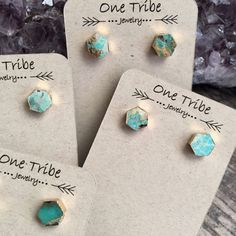 Turquoise Earrings,Turquoise Earrings Gold,Turquoise Stud Earrings,Turquoise Studs,Turquoise Post Earrings,Turquoise Jewelry,Hexagon Studs  Everyday earrings that pack a punch. Who doesnt love turquoise? With these dainty little beauties you can wear that unmistakable pop of color every day of the week. Super hot right now, turquoise goes with so many looks...beachy, tribal, boho, hippie, whatever style you call your own these will fit right in. Great for every day wear..super light and…