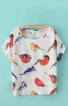 Short Sleeves Chiffon Birds Printed T-shirt